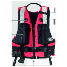 Colete flutuador para atividade de resgate em águas rápidas, com faca, apito e mosquetão